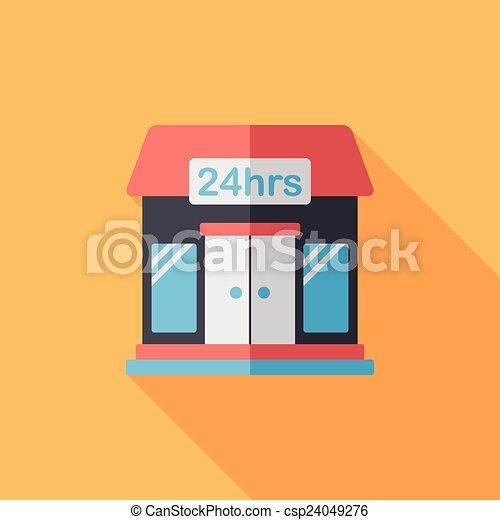 ombre, bâtiment, icône, eps10, magasin, commode, plat, long - csp24049276