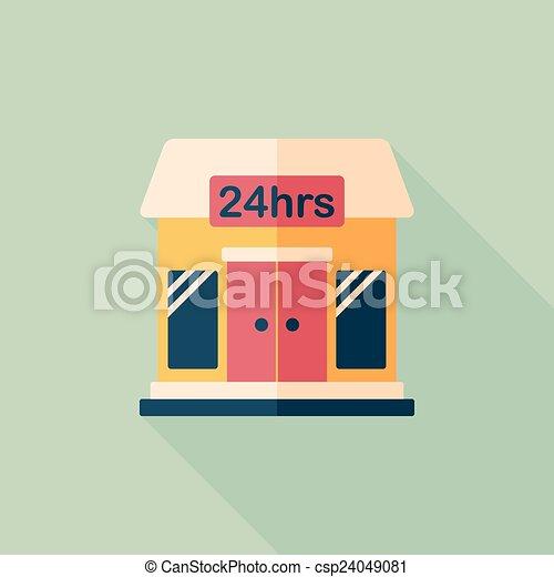 ombre, bâtiment, icône, eps10, magasin, commode, plat, long - csp24049081