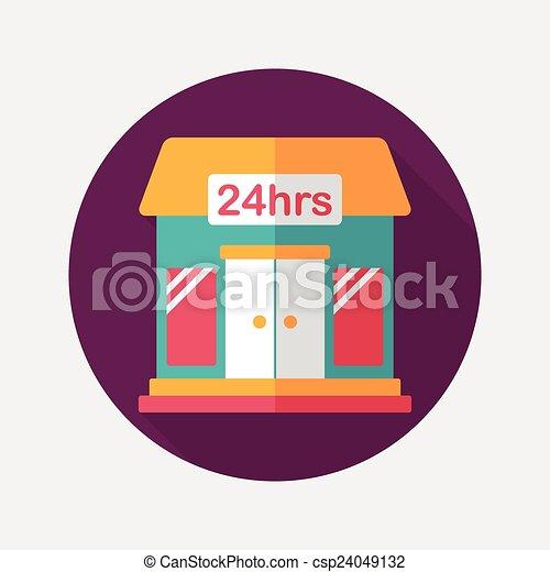 ombre, bâtiment, icône, eps10, magasin, commode, plat, long - csp24049132