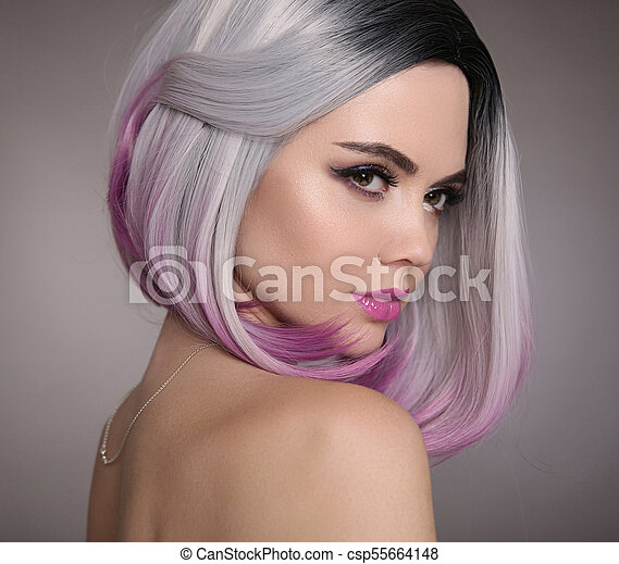 Ombre Bob Short Hairstyle Beautiful Hair Coloring Woman Fashion