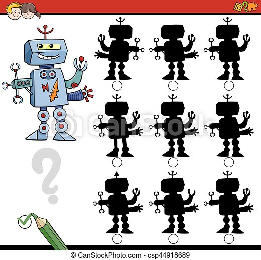 ombre, différences, jeu, robot - csp44918689