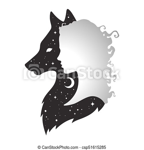ombre, loup, silhouette, femme - csp51615285