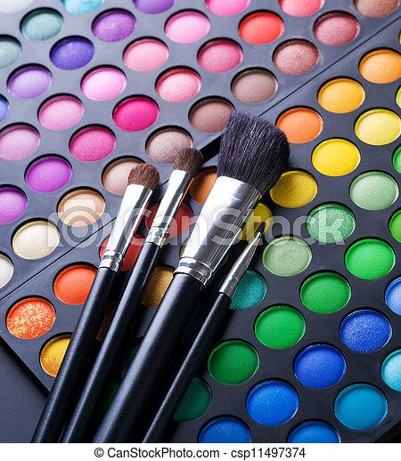 ombre, spazzole, trucco, trucco occhio - csp11497374