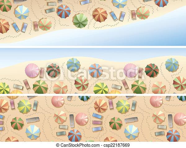 ombrelles, beaucoup, chaise, plage., pont - csp22187669