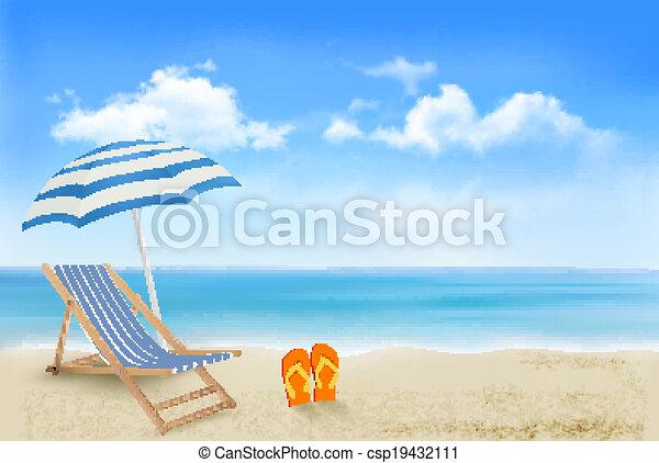 ombrello, concetto, estate, flip-flops., spiaggia, vacanza, fondo., vector., paio, sedia, spiaggia, vista - csp19432111