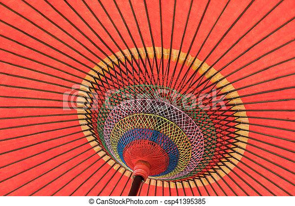 ombrello, fatto mano, dettaglio, su, asiatico, chiudere, decorato - csp41395385