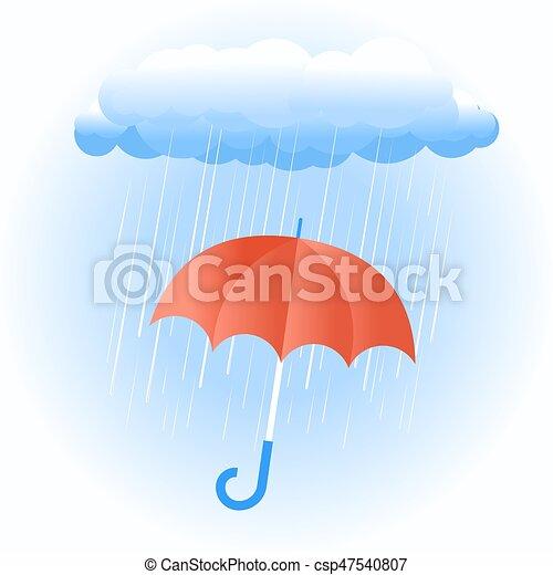 ombrello, nube pioggia, rosso - csp47540807
