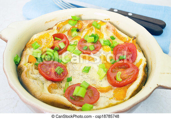 Omelet with Herbs and Tomatoes - csp18785748