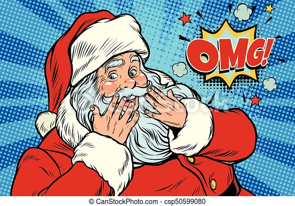 OMG surprise Santa Claus reaction - csp50599080