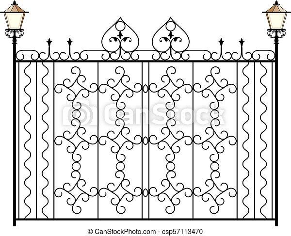 omheining, grill, deur, venster, ontwerp, ijzer, hek, wrought, poort - csp57113470