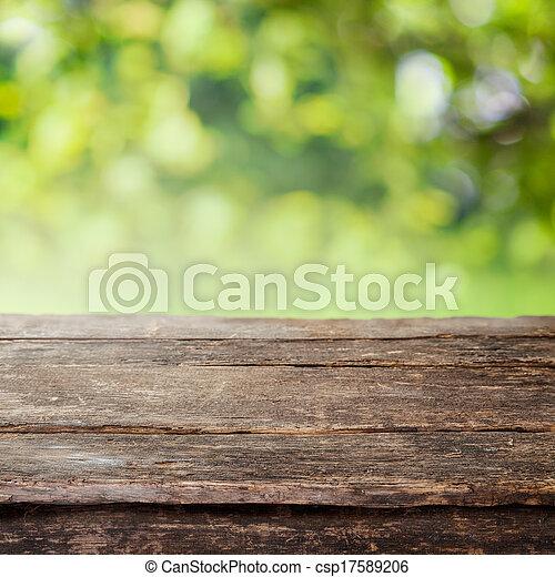 omheining, houten, land, bovenzijde, of, rustiek, tafel, plank - csp17589206