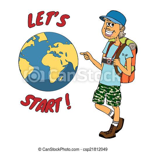 omkring, klar, backpacker, resa, klot, ung - csp21812049