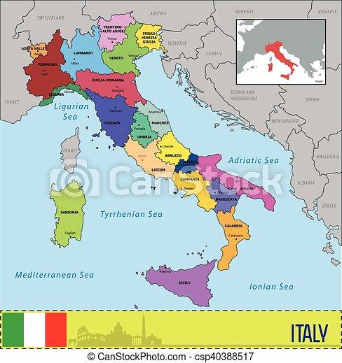 Omraden Karta Kapitalen Italien Deras Karta Italien Eps10
