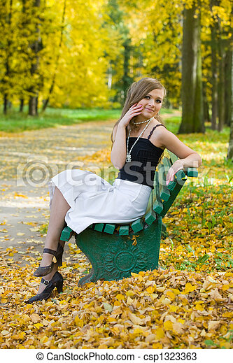 on a bench - csp1323363