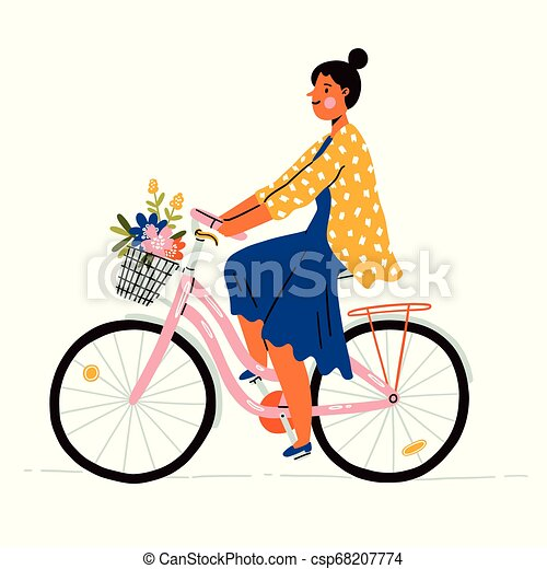on a bicycle with flowers - csp68207774