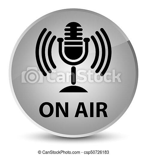 On air (mic icon) elegant white round button - csp50726183