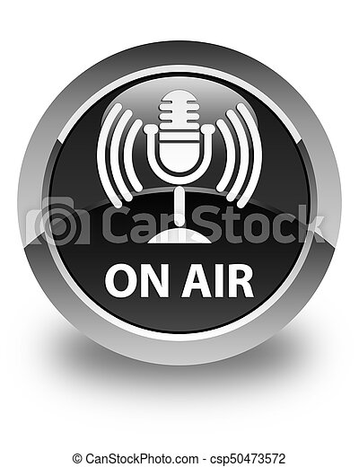 On air (mic icon) glossy black round button - csp50473572