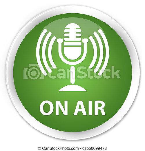On air (mic icon) premium soft green round button - csp50699473