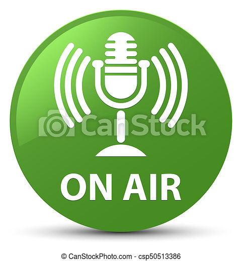 On air (mic icon) soft green round button - csp50513386