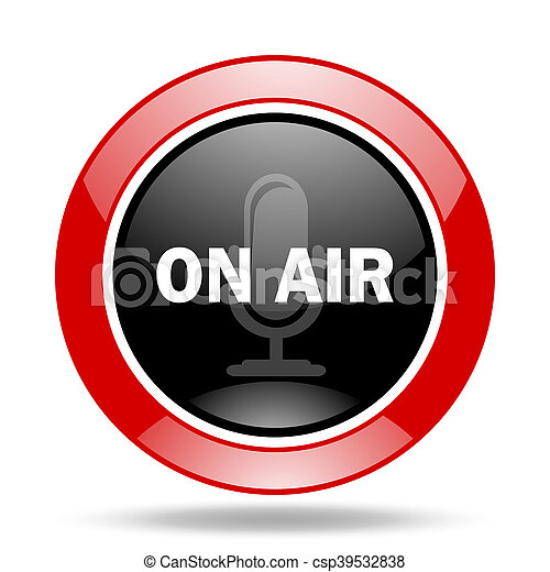 on air red and black web glossy round icon - csp39532838