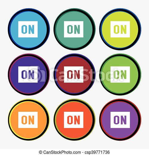ON icon sign. Nine multi colored round buttons. Vector - csp39771736