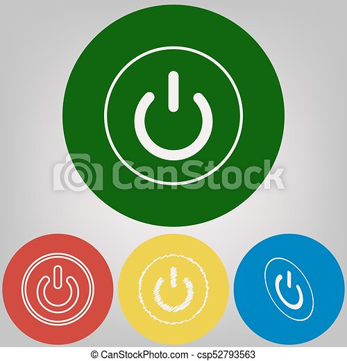 On Off Switch Sign Vector 4 White Styles Of Icon At 4 Colored