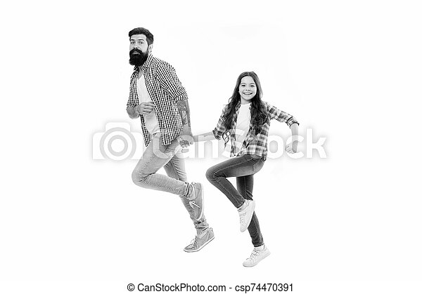 On same wave concept. Bearded father and small child walking going or running together. Move on. Lets move. Kid and dad cheerful friends in motion. Move in same direction. Follow fathers example - csp74470391