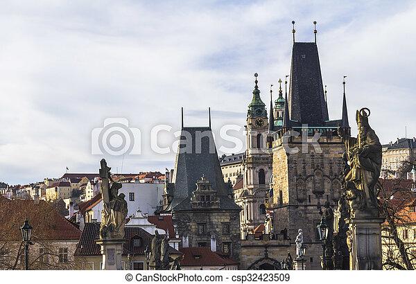 On the Charles Bridge in Prague - csp32423509