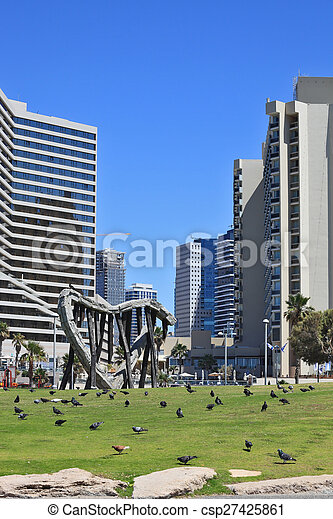 On the green lawn walks flock of pigeons - csp27425861