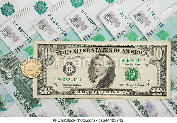 on the russian ruble is 10 american dollars and coins with the
