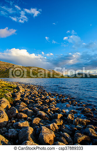 On the shore, before the sunset - csp37889333