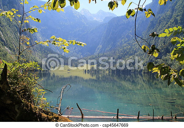 On the shore of a mountain lake - csp45647669