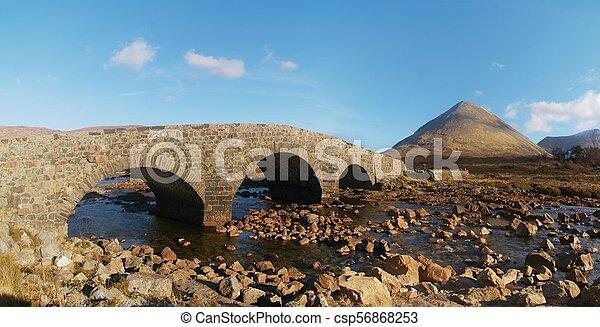 On the way to Scottish Highlands Springtime. Old vintage stony bridge - csp56868253