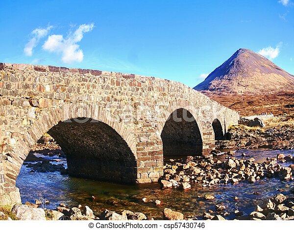 On the way to Scottish Highlands Springtime. Old vintage stony bridge - csp57430746