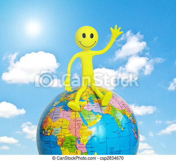 On top of the world - smilie sitting on the globe - csp2834670