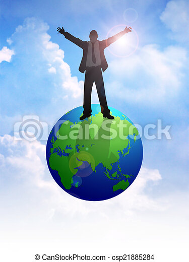 On Top Of The World Silhouette Illustration Of A Man