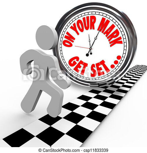 On Your Mark Get Set Go Person Racing Clock Time - csp11833339