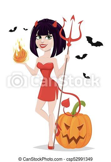 ona-przysmażają, diabeł, trójząb, halloween, jeden, płomień, another., bats., sexy, dziewczyna, ręka, dynia - csp52991349