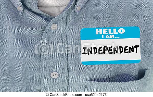 onafhankelijk, naam, hemd, sticker, illustratie, label, hallo, 3d - csp52142176