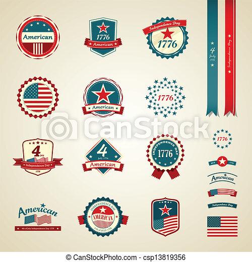 onafhankelijkheid dag, ouderwetse , etiket - csp13819356