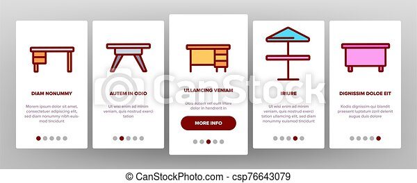 onboarding, テーブル, ベクトル, アイコン, 机 セット - csp76643079
