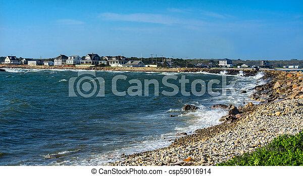 onda, ponto, choque, massachusetts, westport, pedregoso, praia - csp59016914