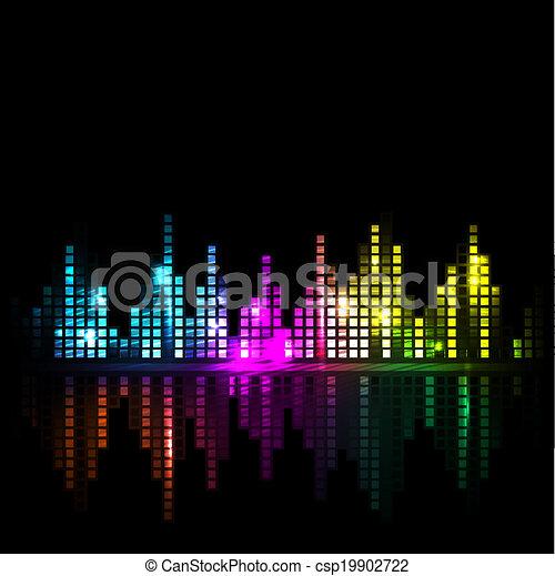 onda sonora, luminoso, fundo, cityscape, ou - csp19902722