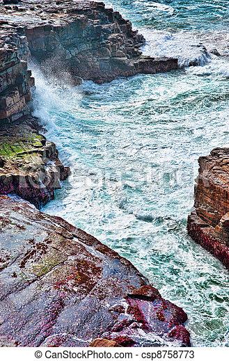 ondas, oceânicos, pedras - csp8758773