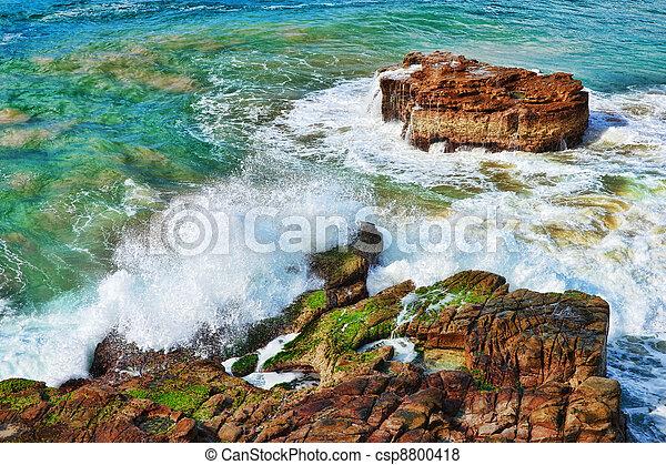 ondas, oceânicos, pedras - csp8800418
