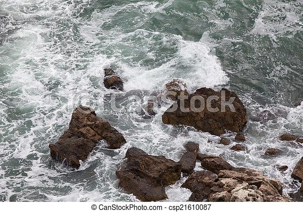 ondas, pedras - csp21610087