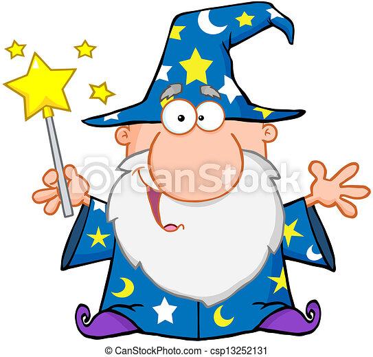 ondeggiare, divertente, mago, bacchetta magica - csp13252131
