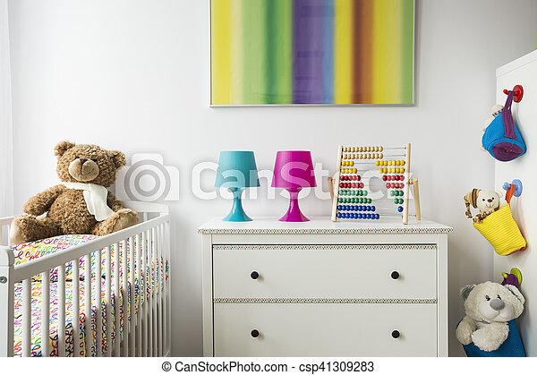 Onderbroek borst wiegje kamer kind. kamer kleurrijke schattige