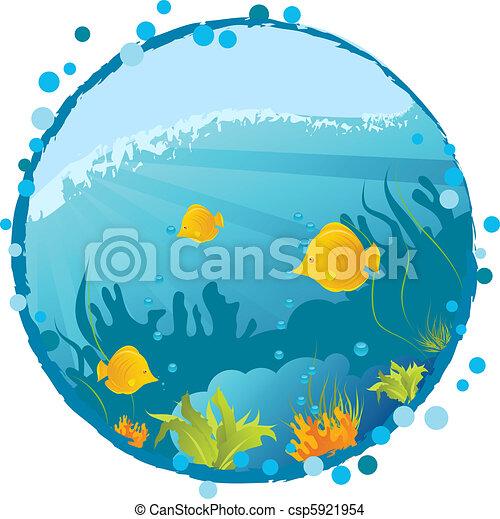 onderwater, ronde, achtergrond - csp5921954