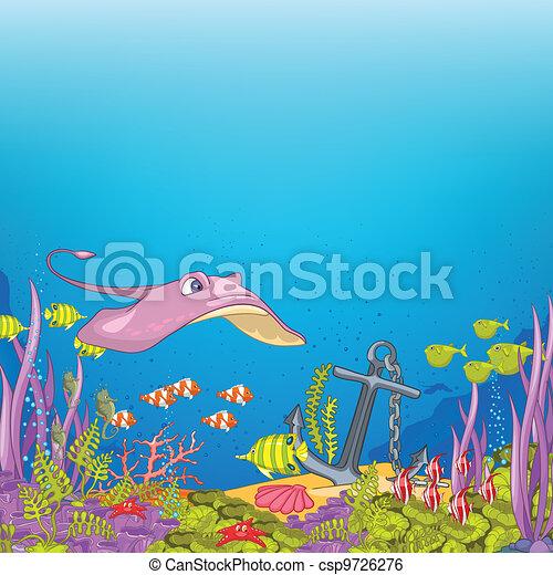 onderwater, spotprent, oceaan - csp9726276